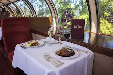 A dinner setting on a train