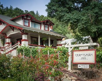 Outside front view of the Craftsman Inn in Calistoga, CA, located in the Wine Country in Napa Valley
