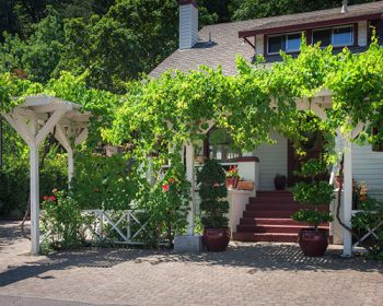Outside front of the Wine Way Inn in Calistoga, CA, located in the Wine Country in Napa Valley