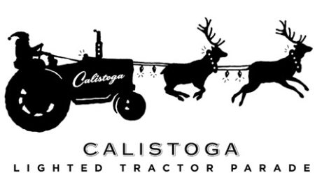 "Black and white graphic of Santa riding a tractor with his reindeer. Below is written, ""Calistoga Lighted Tractor Parade""."